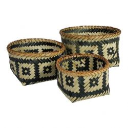 Bamboo Baskets Black/Natural Squares | Set of 3
