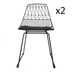Wire Chair Patterns Black | Set of 2