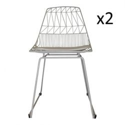 Wire Chair Patterns White | Set of 2
