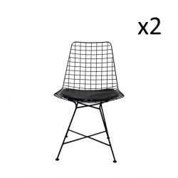 Wire Chair Diamond Black | Set of 2