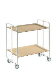 Folding 2-Tier Serving Trolley | White & Light Wood