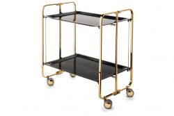 Folding 2-Tier Serving Trolley | Gold-Black