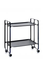 Folding 2-Tier Serving Trolley | Black