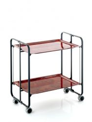 Folding 2-Tier Serving Trolley | Black & Dark Brown