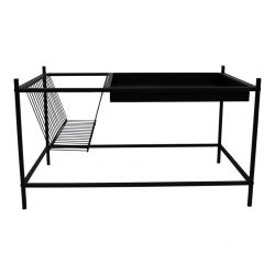 Side Table + Magazine Rack Metal | Black