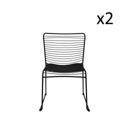 Wire Chair Straight Black | Set of 2