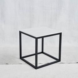 Black Cube Table | White