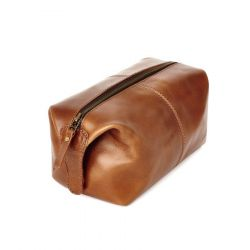 Wash Bag Leather | Brown