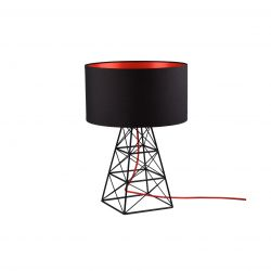 Lampe de Table Pylon | Noir + Câble Rouge