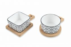 Sashimi-Schale mit Bambus-Tablett 2er-Set | Weiß