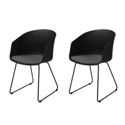 Set of 2 Chairs Star | Black / Grey Fabric