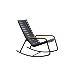 Outdoor Rocking Chair with Bamboo Armrests ReCLIPS | Black