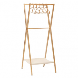Clothes Rack with Hangers Bamboo | Light Wood