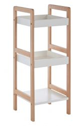 3 Tier Bathroom Shelf Birch Wood + MDF | White