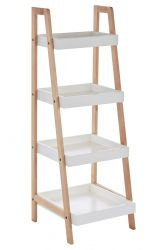 4 Tier Bathroom Shelf Birch Wood + MDF | White