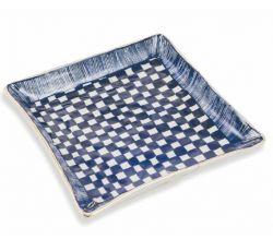 Quadratischer Teller Masai Groß | Blau