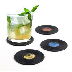 Set of 4 Silicone Coasters | Black
