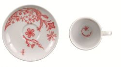 "Set of 6 expresso cups with saucer ""Mystic Horse"" Red"