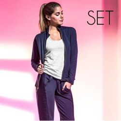 3 Pieces Wellness Sportwear (Jacket + Top + Pants ) | Blue