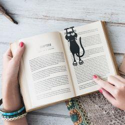 Buchzeichen Katze | Schwarz