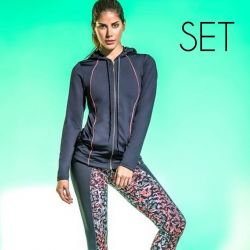 Driedelige Set (Vest + Top + Legging) | Grijs