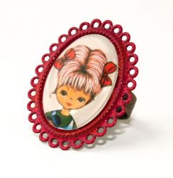 Vintage Girl with Red Bows on Red Oval Ring