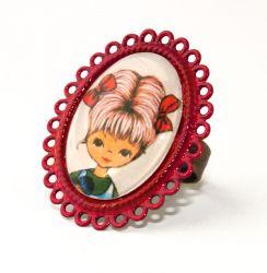 Vintage Meisje met rode strikjes Rode Ovale Ring