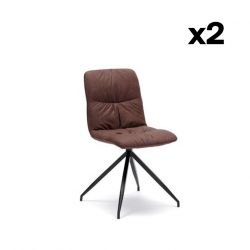 Set of 2 Dining Chairs Alba | Brown