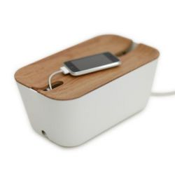 Cable Organiser Hideaway  Medium | White & Natural