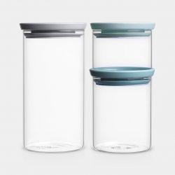 Stapelbarer Glasbehälter 3er Set | 0,3 L / 0,6 L / 1,1 L