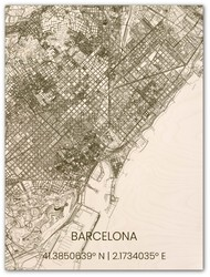 Wooden Wall Decoration | City Map | Barcelona
