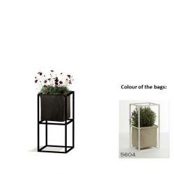 Modulares Pflanzengestell 2x Schwarz + 1 beige Tasche