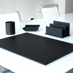 5er-Set Office-Set aus Leder | Schwarz