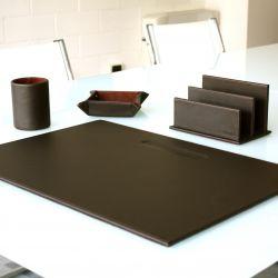 5er-Set Office-Set aus Leder | Dunkelbraun
