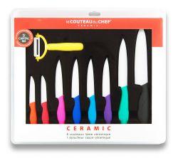Set mit 8 Messern & 1 Gemüseschäler | Mehrfarbig