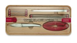 Set of Seafood Cutlery  14 Pieces | Red