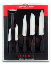 Set mit 5 Messern & 1 Keramikschäler | Weiß & Schwarz