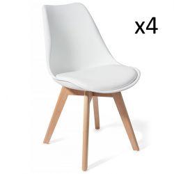 Set de 4 | Chaise en Bois Kiki | Blanc