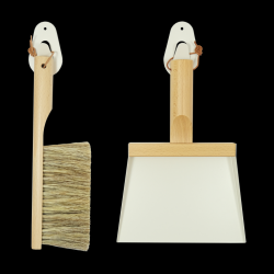 Set of Hand Brush & Dustpan & 2 Wall Hooks | Mr & Mrs Clynk | White