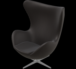Egg Lounge Chair | Black Brown Leather