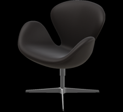 Swan Lounge Chair | Black Brown Aura Leather