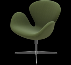 Swan Lounge Chair | Dark Olive Fabric