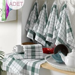 Wash Towel Cizgili Set of 10 | White & Green