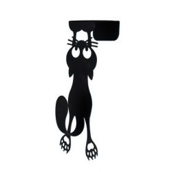 Door Hanger Curious Cat | Black
