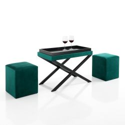 Bench / Coffee Table & 2 Ottomans | Green