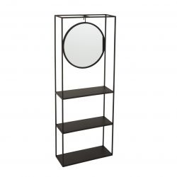Regalwand mit Spiegel | Schwarz