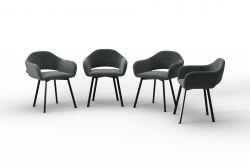 Set Of 4 Chairs Oldenburg | Grey-Velvet Touch