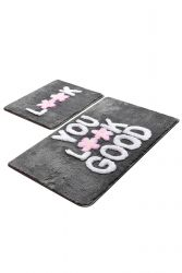 Bath Mat Set of 2 | You Look Good Grey