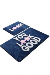 Badmat Set van 2 | You Look Good Blauw