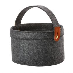 Craft Basket with Handle | Dark Grey